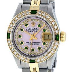 Rolex Ladies Two Tone 14K MOP Diamond & Emerald Datejust Watch