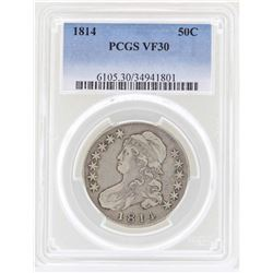 1814 Capped Bust Half Dollar Coin PCGS VF30