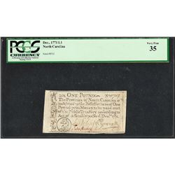 December 1771 North Carolina One Pound Colonial Currency Note PCGS Very Fine 35