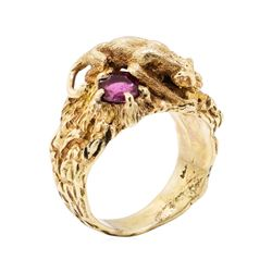 14KT Yellow Gold 0.50 ctw Ruby Panther Ring