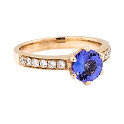14KT Rose Gold 1.18 ctw Tanzanite and Diamond Ring
