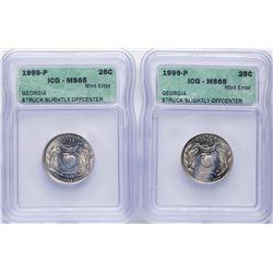 Lot of (2) 1999-P Georgia State Quarter Coins ICG MS65 Struck Slightly Offcenter