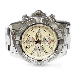 Breitling Mens Super Avenger II Stainless Steel 48mm Cream Stick Dial Watch