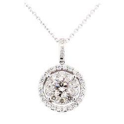 14KT White Gold 1.79 ctw Diamond Pendant & Chain