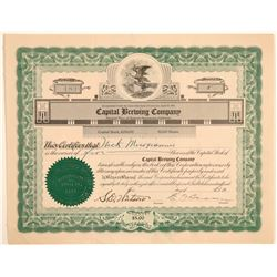 Capital Brewing Company Stock Certificate  (103467)