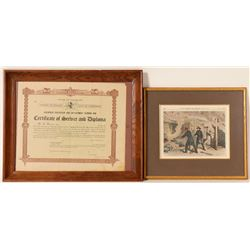Goldfield, CO Fire Fighter Diploma and Color Print  (91512)
