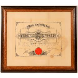 Paterson, NJ Fireman Certificate  (91537)