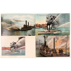 Fire Boat Postcards (4)  (101785)