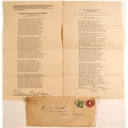 Lincoln Related-Edwin Markham Letter & Signed Poems  (57758)