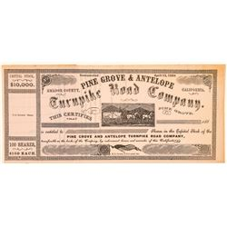 Pine Grove & Antelope Turnpike Road Co. Stock Certificate  (100967)