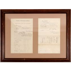 Two Framed Bodie, CA Political Documents  (101779)
