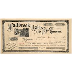 Fallbrook Water & Power Company Stock Certificate  (103443)