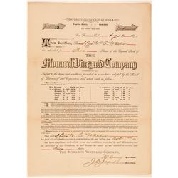 Monarch Vineyard Company Stock Certificate  (100835)