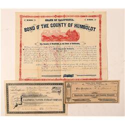 Humboldt & Mendocino County, California Stocks & One Bond  (100841)