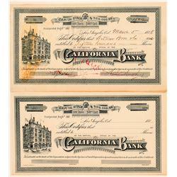 California Bank Stock Certificate Pair  (100759)