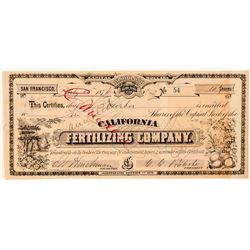 California Fertilizing Co. Stock Certificate (GT Brown)  (100751)