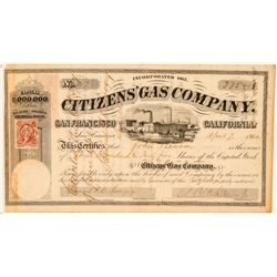Citizens' Gas Company Stock Certificate  (101512)