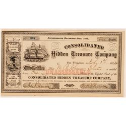 Consolidated Hidden Treasure Company Stock Certificate  (100747)