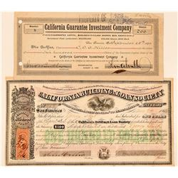 Two California Investment Company Stock Certificates  (100757)