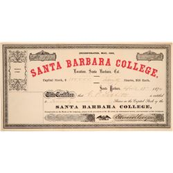 Santa Barbara College Stock Certificate  (103551)