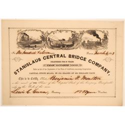 Stanislaus Central Bridge Company Stock Certificate (Gold Rush)  (103446)