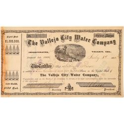 Vallejo City Water Company Stock Certificate--Number One  (101490)