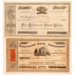 California Farm Related Stock Certificates  (100832)