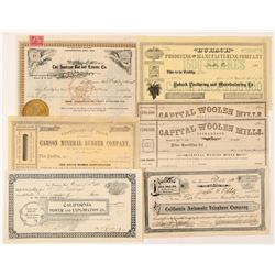 Miscellaneous California Stock Certificates  (100755)