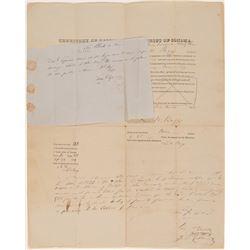 Extra Rare Territory of California Official Document  (101469)