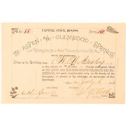 Aspen & Glenwood Springs Telegraph & Telephone Co. Stock Certificate  (91575)