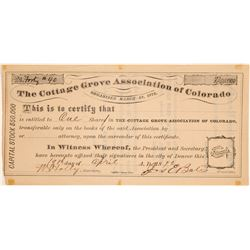 Cottage Grove Association of Colorado Capital Stock Certificate  (104749)