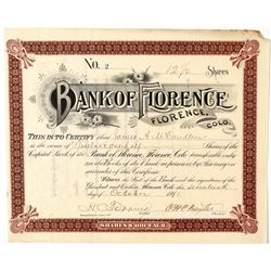 Bank of Florence Stock Certificate--Number 2  (91777)