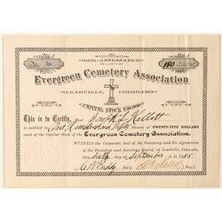 Evergreen Cemetery Association Stock Certificate (Leadville)  (91789)