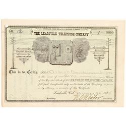 Leadville Telephone Company Stock Certificate Signed by Tabor  (104905)