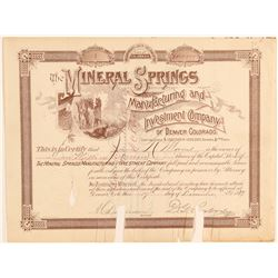 Mineral Springs Manufacturing & Investment Co. Stock Number 1  (91847)