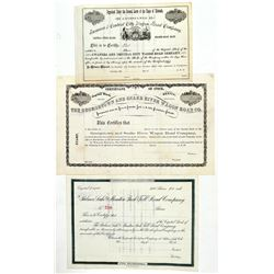 Three Different Colorado Wagon Road Stock Certificates  (91785)