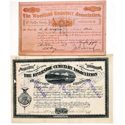 Two Colorado Cemetery Association Stock Certificates  (91778)