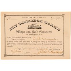 The Bismarck Marine Ways & Dock Co. Stock Certificate  (100760)