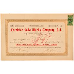 Excelsior Soda Works Company, Ltd. Stock Certificate  (101547)