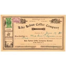 Liko Lehua Coffee Company Stock Certificate  (101555)