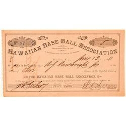 Hawaii Baseball Assoc. Stock Issued to AJ Cartwright, Inventor of Baseball  (101543)