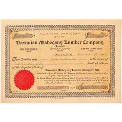 Hawaiian Mahogany Lumber Company Stock Certificate  (101526)