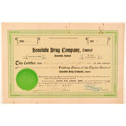 Honolulu Drug Company Stock Certificate  (101536)