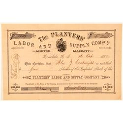Planters' Labor & Supply Co. Stock Issued to  A.J. Cartwright, Inventor of Baseball  (101523)