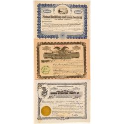 Three Different Hawaii Banking Stock Certificates  (101517)