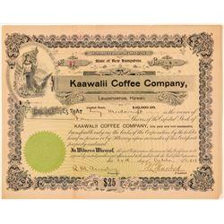 Kaawalii Coffee Company Stock Certificate  (101554)