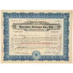 Hawaiian Airways Co., Ltd. Stock Certificate  (101532)