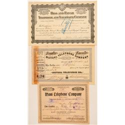 Three Different Hawaii Telephone Stock Certificates  (101549)