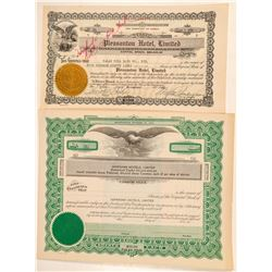 Two Hawaii Hotel Stock Certificates   (101550)