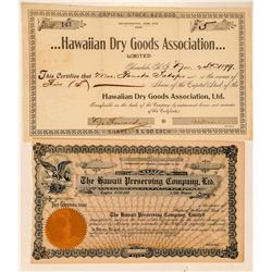 Two Hawaii Stock Certificates: Dry Goods and Preserving (Pineapples)  (101538)